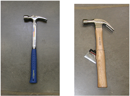 Wood handle and Metal handle hammers are shown and each provides different strengths when hammering